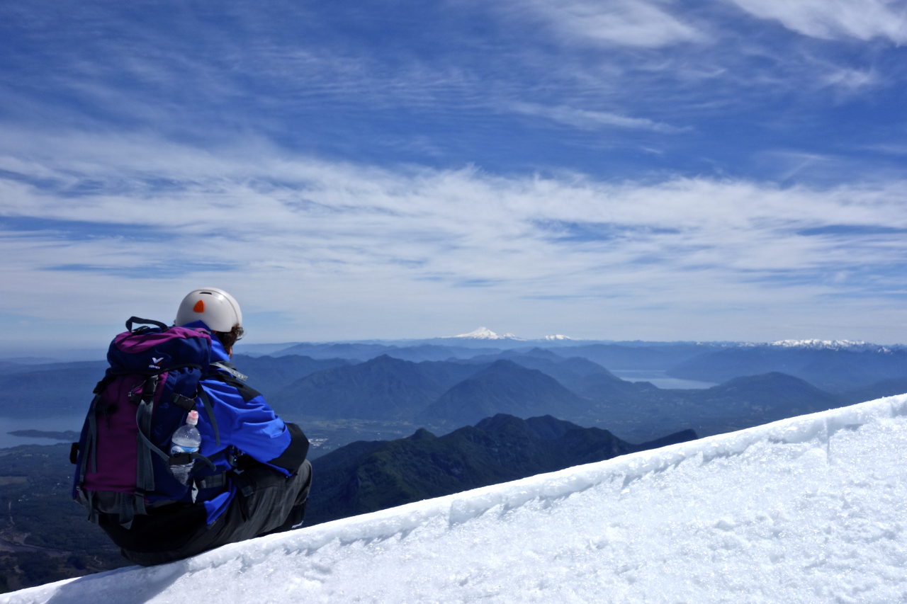 Taking in the views from high on Volcan Villarrica- Pucón, Chile